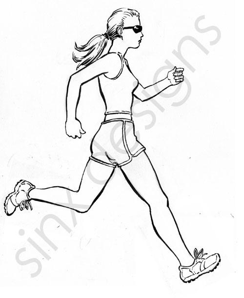 500x611 Running Girl Pencils Inked Sinx Designs