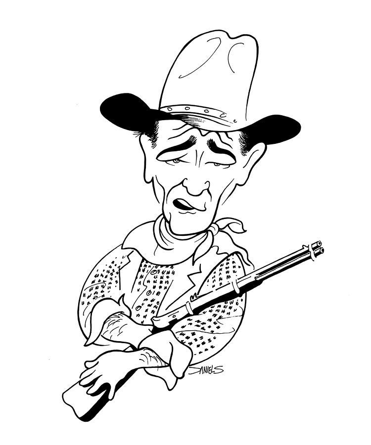 750x900 John Wayne Caricature Drawing By Stephen Daniels