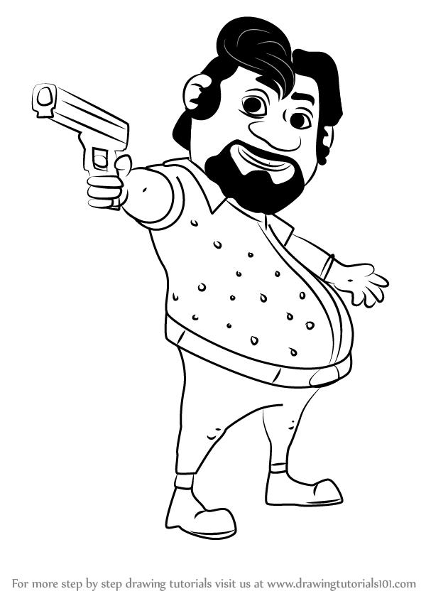 600x846 Learn How To Draw John From Motu Patlu (Motu Patlu) Step By Step