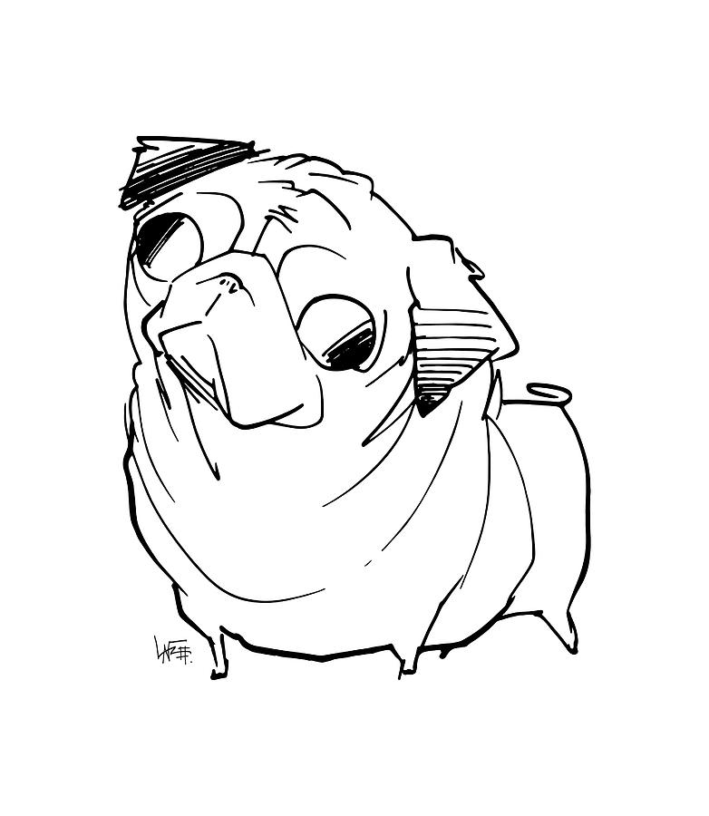 782x900 Pug Gesture Sketch Drawing By John Lafree