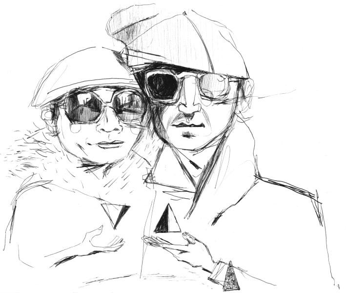 709x600 John Lennon And Yoko Ono. Ink Drawing. Pencil Drawingswater