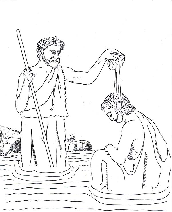 600x740 John Pour Some Water Into Jesus Head In John The Baptist Coloring