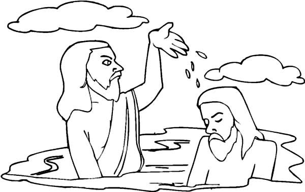 600x379 John Splashing Water To Jesus Head In The Baptist Coloring