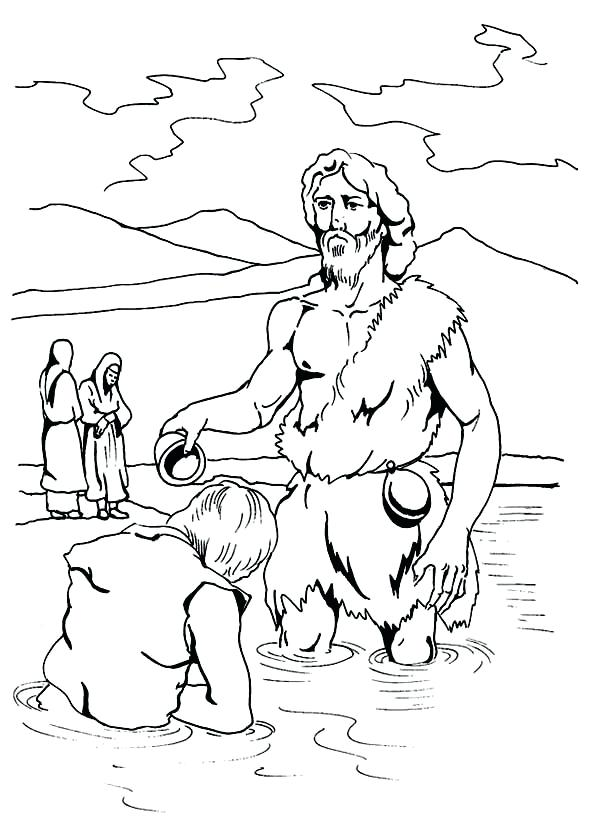 600x835 John The Baptist Coloring Pages Being Baptism By John The Baptist
