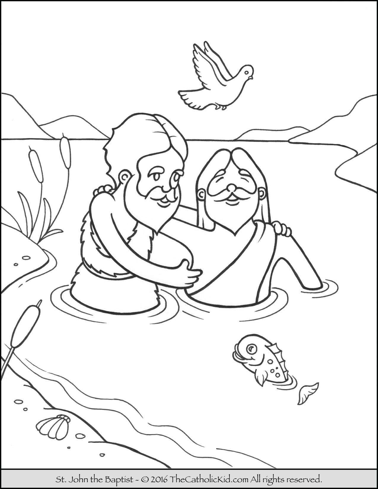 1275x1650 Saint John The Baptist Jordan River Coloring Page Cartoon