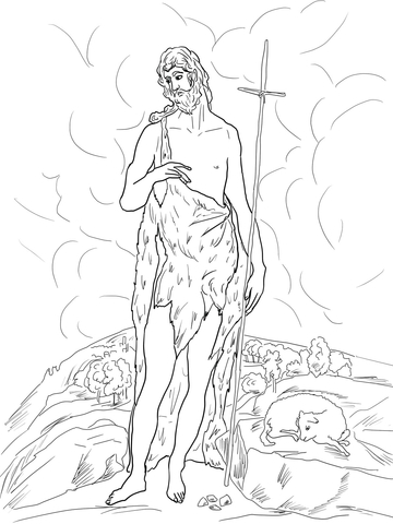 360x480 Saint John The Baptist In The Wilderness Coloring Page Free
