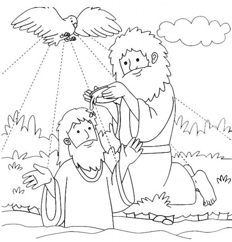 982x1024 Jesus Baptized By John The Baptist Coloring Page For Baptism With