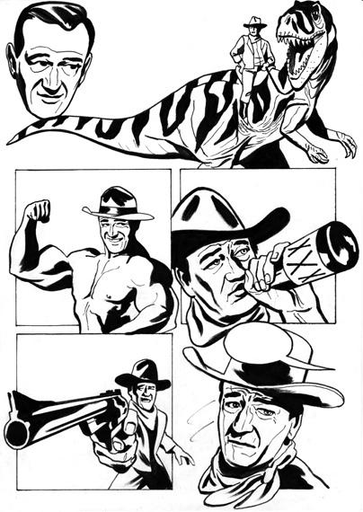 404x570 John Wayne Is John Wayne In John Wayne (Original Drawing)