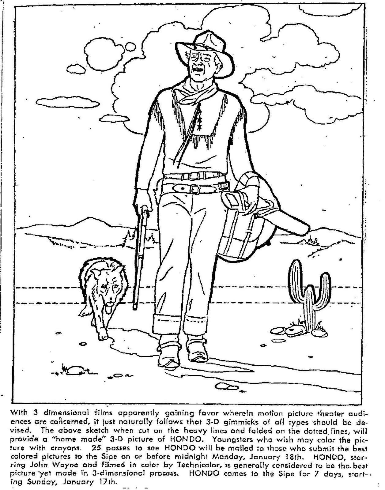 1257x1600 Mostly Paper Dolls Hondo Movie Coloring Contest, 1954