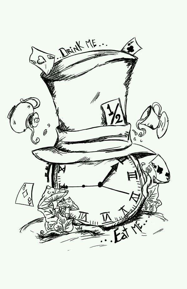 600x927 Reloj8 Dibujo Tattoo, Alice And Drawings