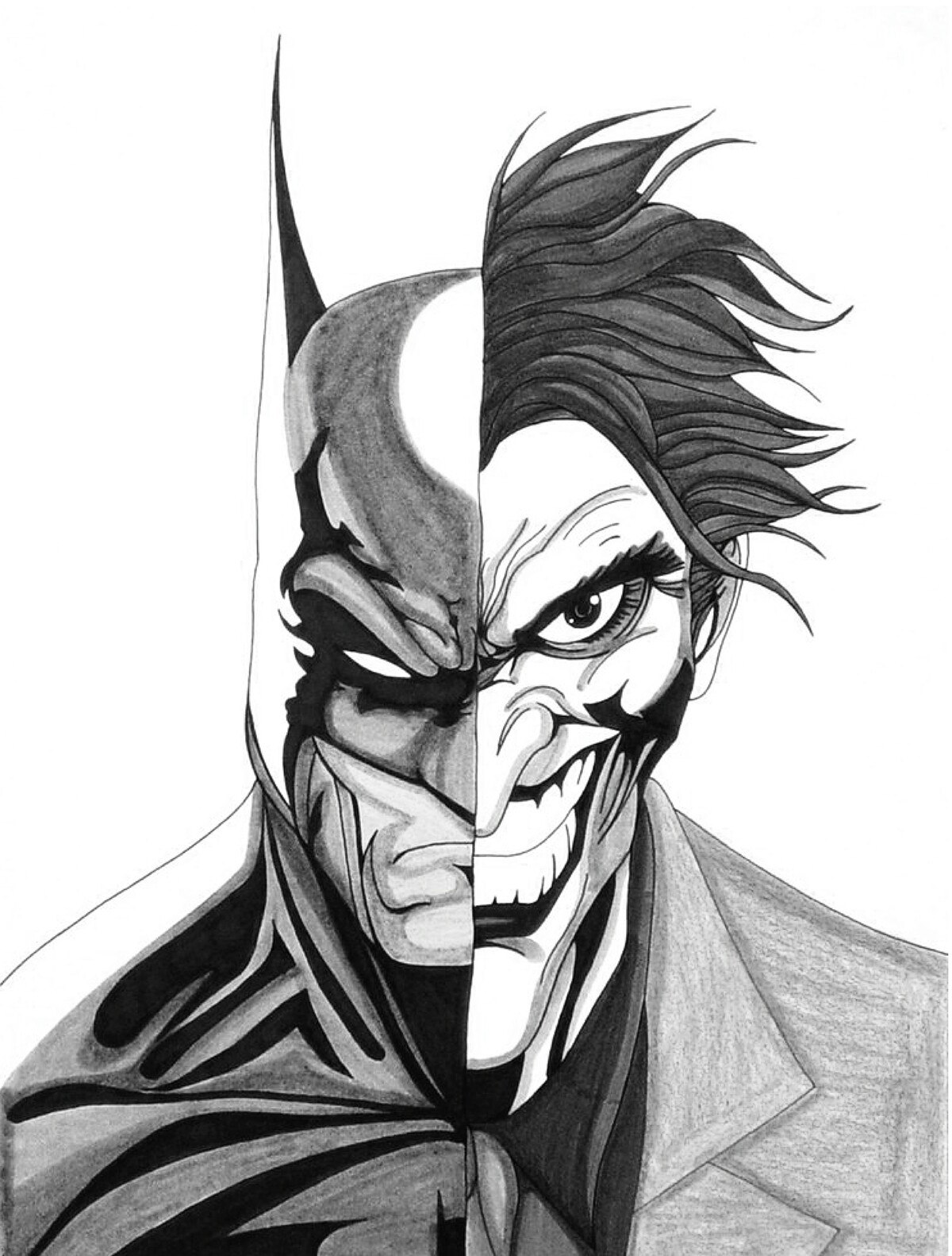 1200x1582 Half Batman, Half Joker The Joker Joker, Batman