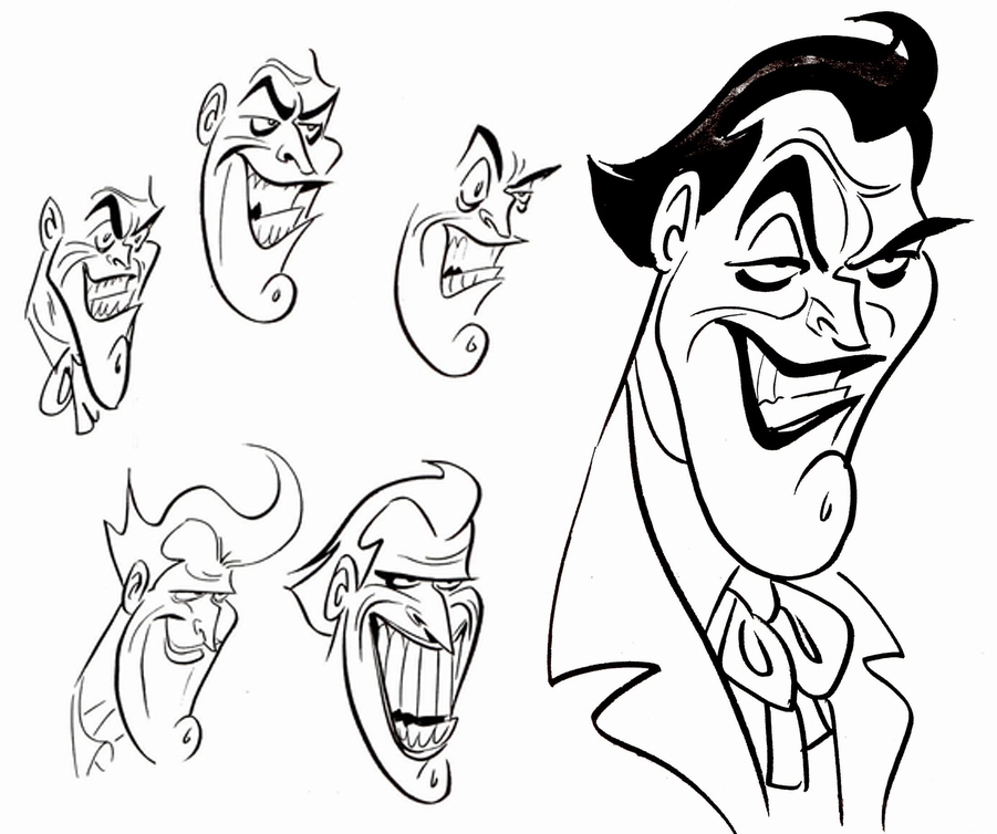 901x754 Early Sketches Of The Joker For Batman The Animated Series