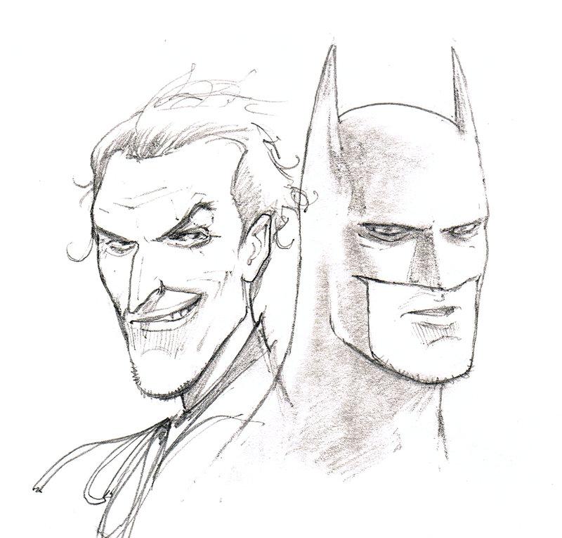 800x765 Batman Joker Sketch By Flowcoma