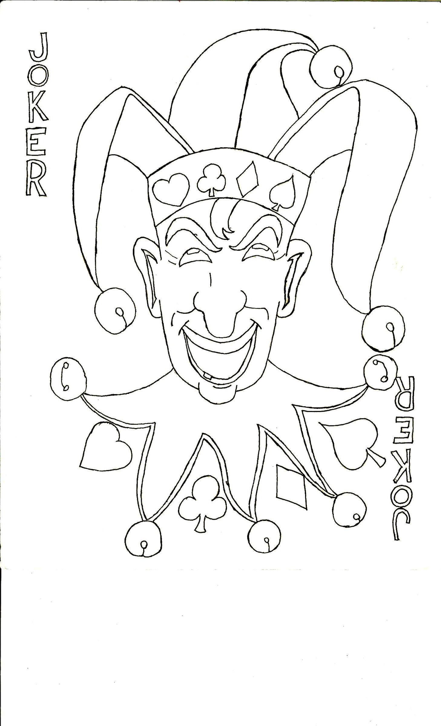 1457x2400 Uncolored Joker Card By Sansforme