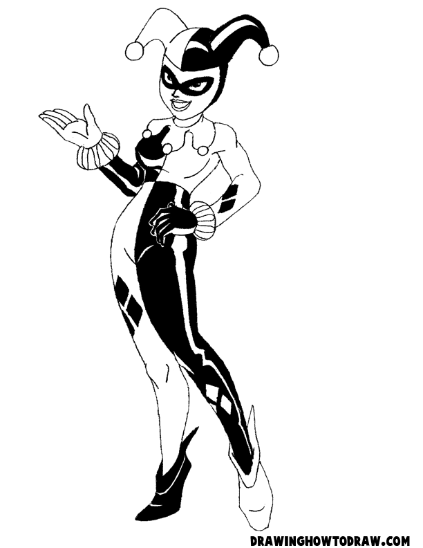 612x792 How To Draw Harley Quinn From Batman Comics With Drawing Lesson