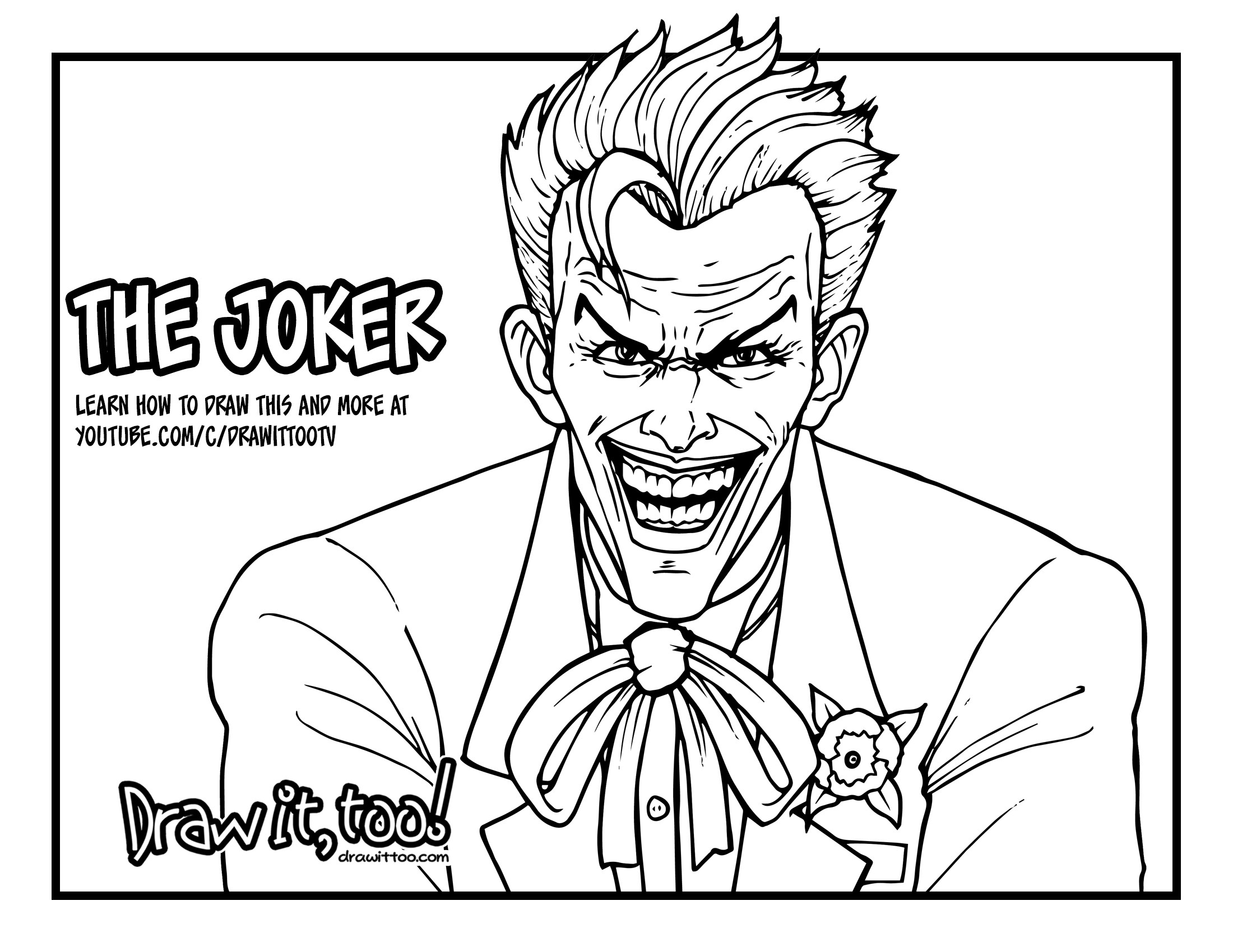 2200x1700 How To Draw The Joker (Comic Version) Drawing Tutorial