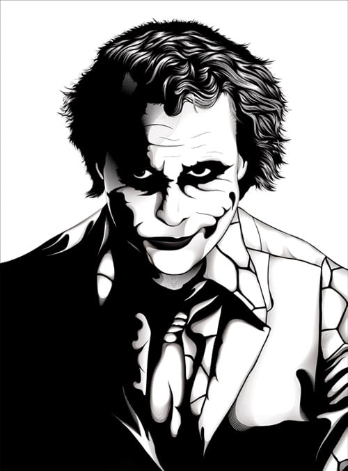 500x677 The Joker Comic Book Inspired Artwork