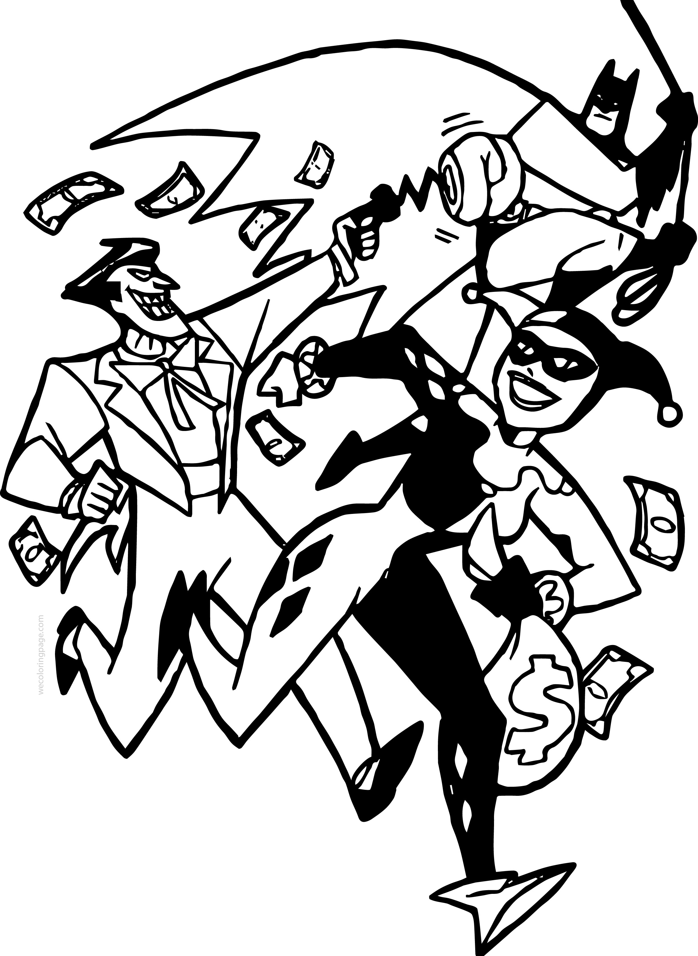 2450x3354 Joker Batman Cartoon Characters Coloring Page Wecoloringpage