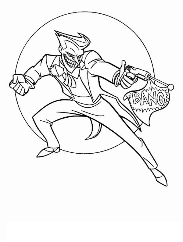 600x794 Joker With Fake Pistol Coloring Page