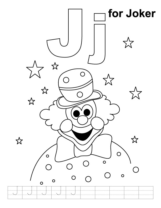 612x792 J For Joker Coloring Page With Handwriting Practice Download