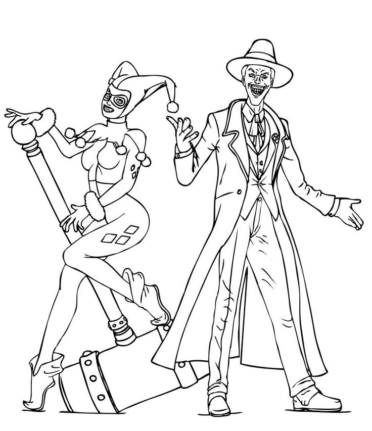 736x853 Joker Coloring Pages And Harley Quinn