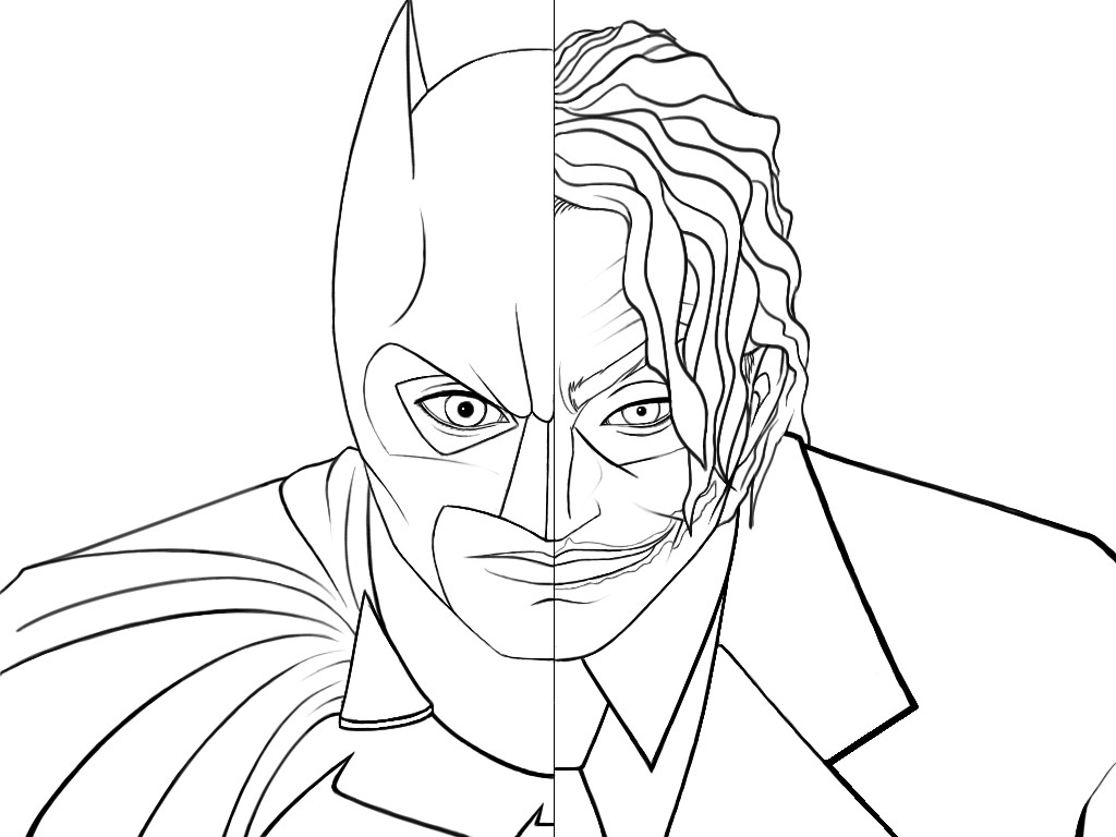 1024x768 Batman Fighting Joker Coloring Pages For Kids Free Download
