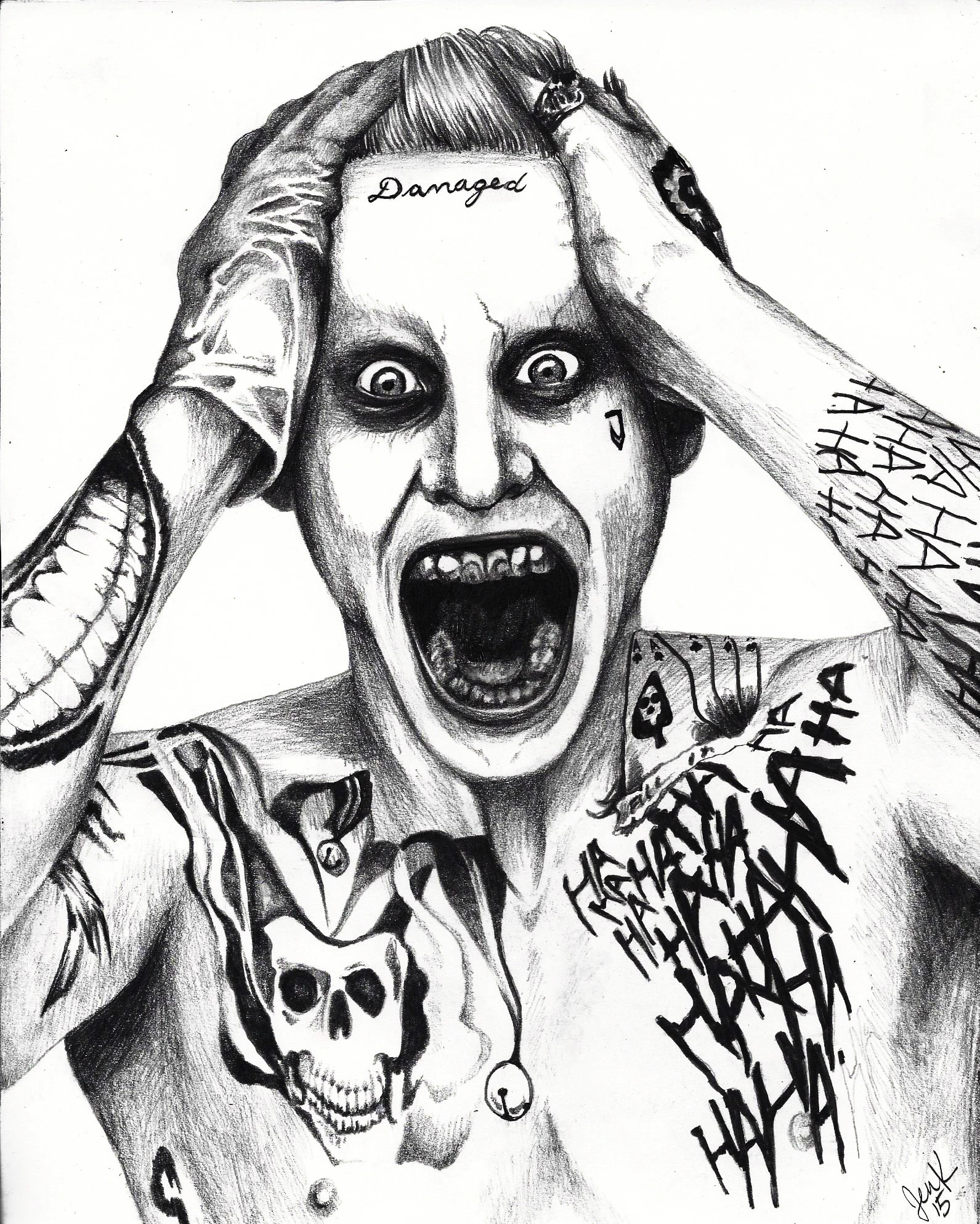 1591x1987 Not The Best Scan, But This Is My Drawing Of Jared Leto Joker
