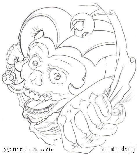 472x534 Jester Skull Tattoo Outline Jester Tattoo Design Joker Tattoo