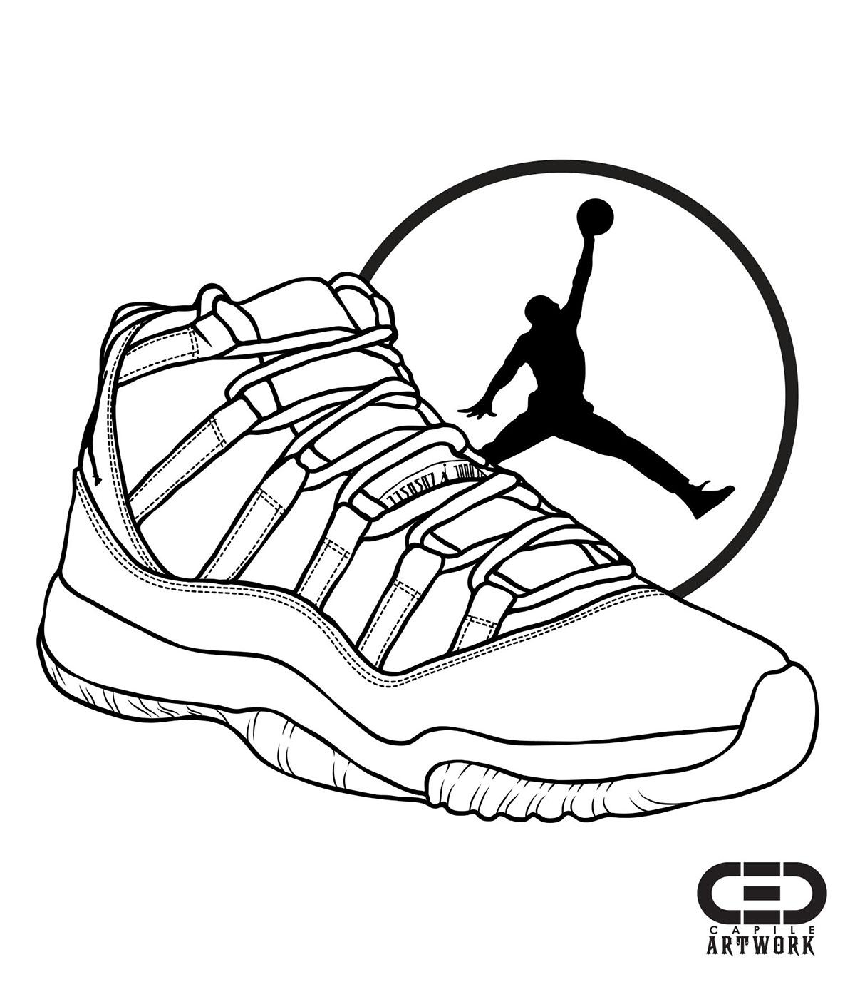 Jordan 11 Drawing at GetDrawings