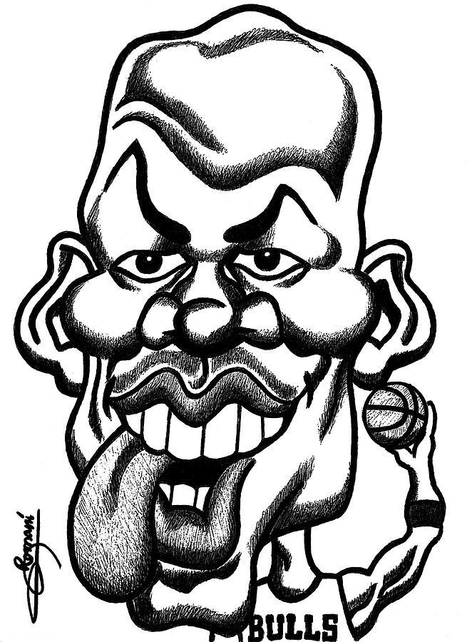 662x900 Michael Jordan Tongue Out Caricature Digital Art By Miguel Romani
