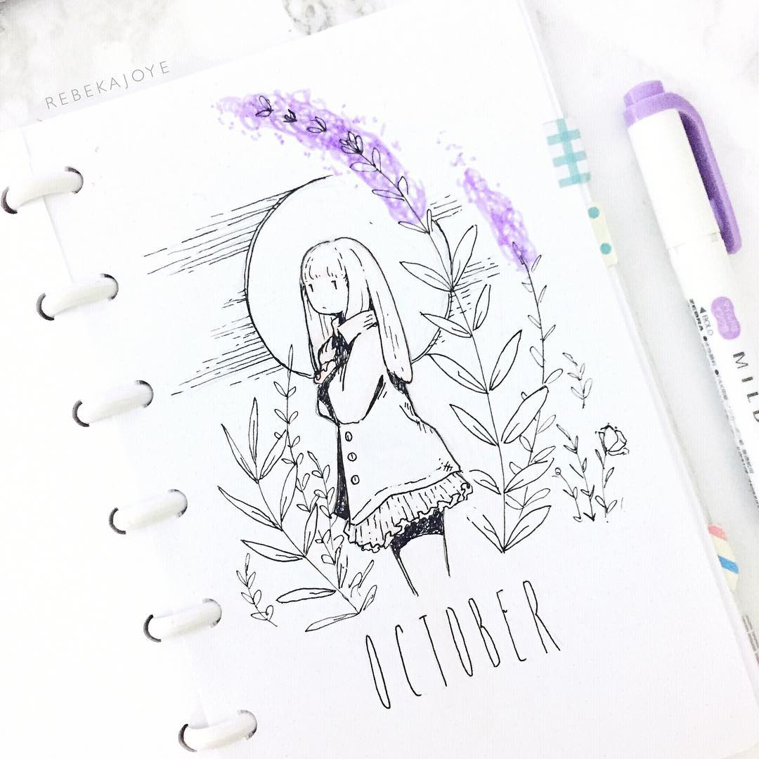 1080x1080 Bullet Journal Monthly Cover Page, Bullet Journal Drawing Ideas