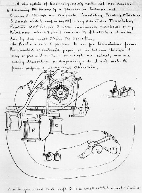 500x679 Thomas Edison Notebook Journal Drawing Printing Machine Patent