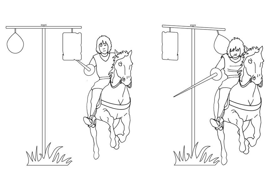 875x620 Coloring Page Jousting Training