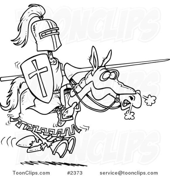 581x600 Cartoon Blacknd White Line Drawing Of Jousting Knight On