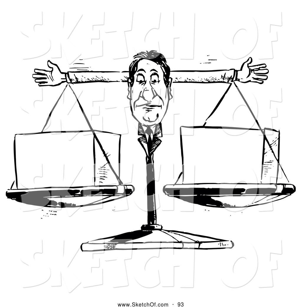 1024x1044 Drawing Of A Businessman Judge Justice Scale Weighing Cubes By
