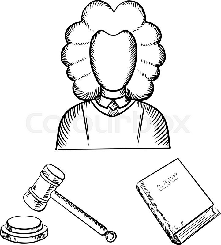 722x800 Judge Traditional Mantle And Wig, Gavel And Law Book Icons