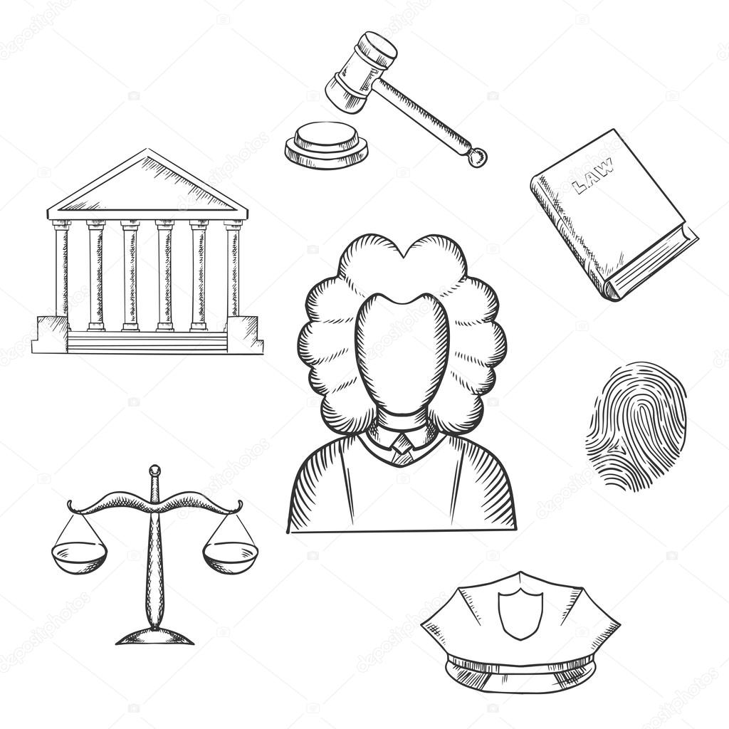1024x1024 Law, Judge And Justice Sketched Icons Stock Vector Seamartini