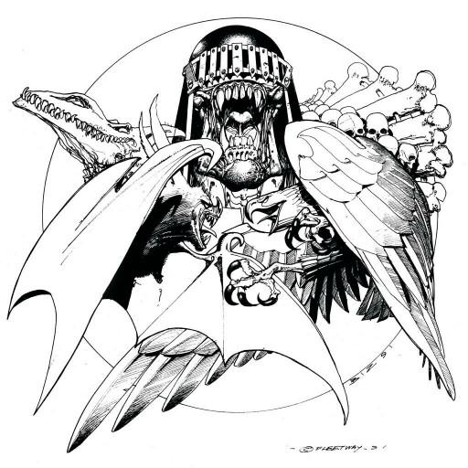 512x512 Simon Bisley Drawing Of Judge Death (Judge Dreddatman Cross Over