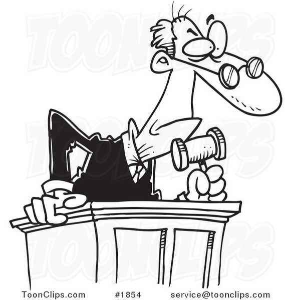 581x600 Cartoon Black And White Line Drawing Of A Judge Leaning Over His