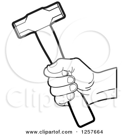 450x470 Clipart Of A White Hand Holding A Hammer
