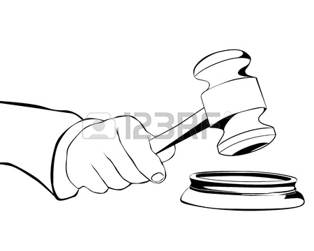 450x360 Drawing Hand With Judicial Hammer On A White Background Royalty