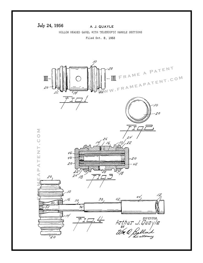 773x1000 Judge's Gavel Patent Print Poster Item 10298 Frame A Patent