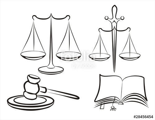 500x389 Legal, Law, Judge Set Sketch In Black Lines Stock Image
