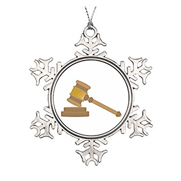 355x355 Judges Gavel Ceramic Round Christmas Ornament Home