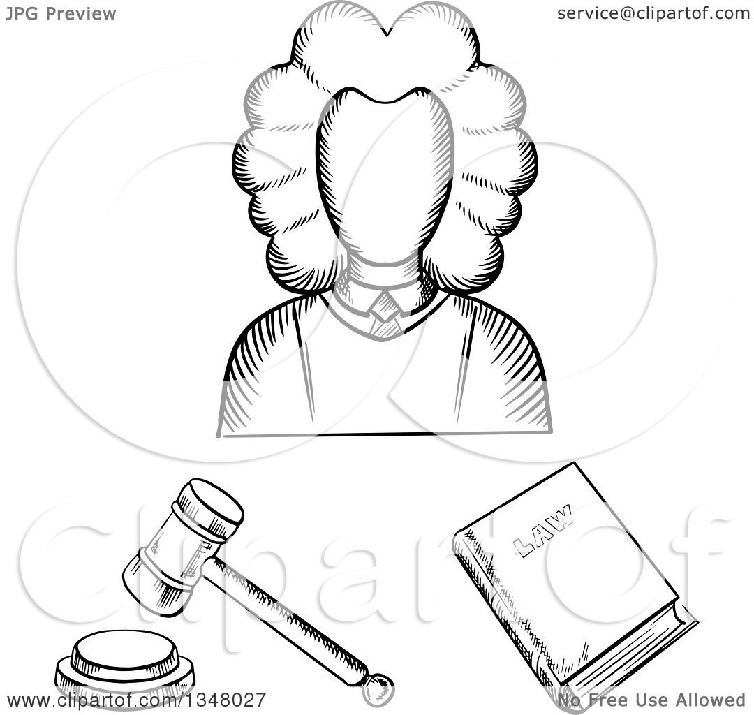 1080x1024 Clipart Of A Black White Sketched Female Judge, Law Book
