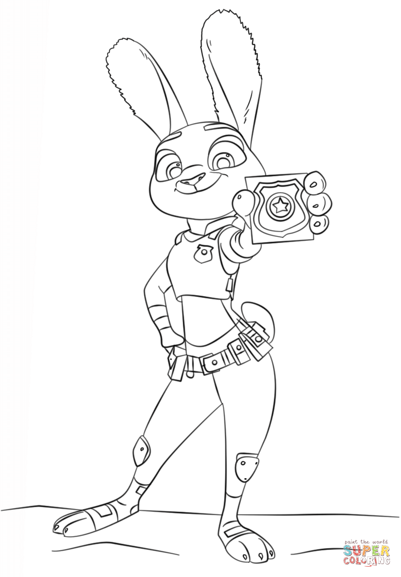 824x1186 Judy Hopps From Zootopia Coloring Page Free Printable Coloring Pages