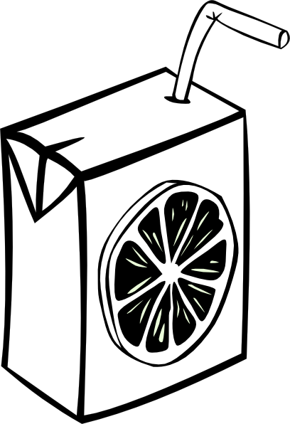 408x596 Orange Juice Box (B And W) Clip Art