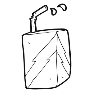 300x300 Freehand Drawn Black And White Cartoon Juice Box Royalty Free