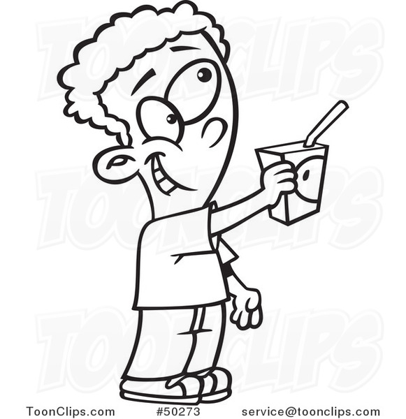 581x600 Cartoon Black And White Boy Offering To Share A Juice Box
