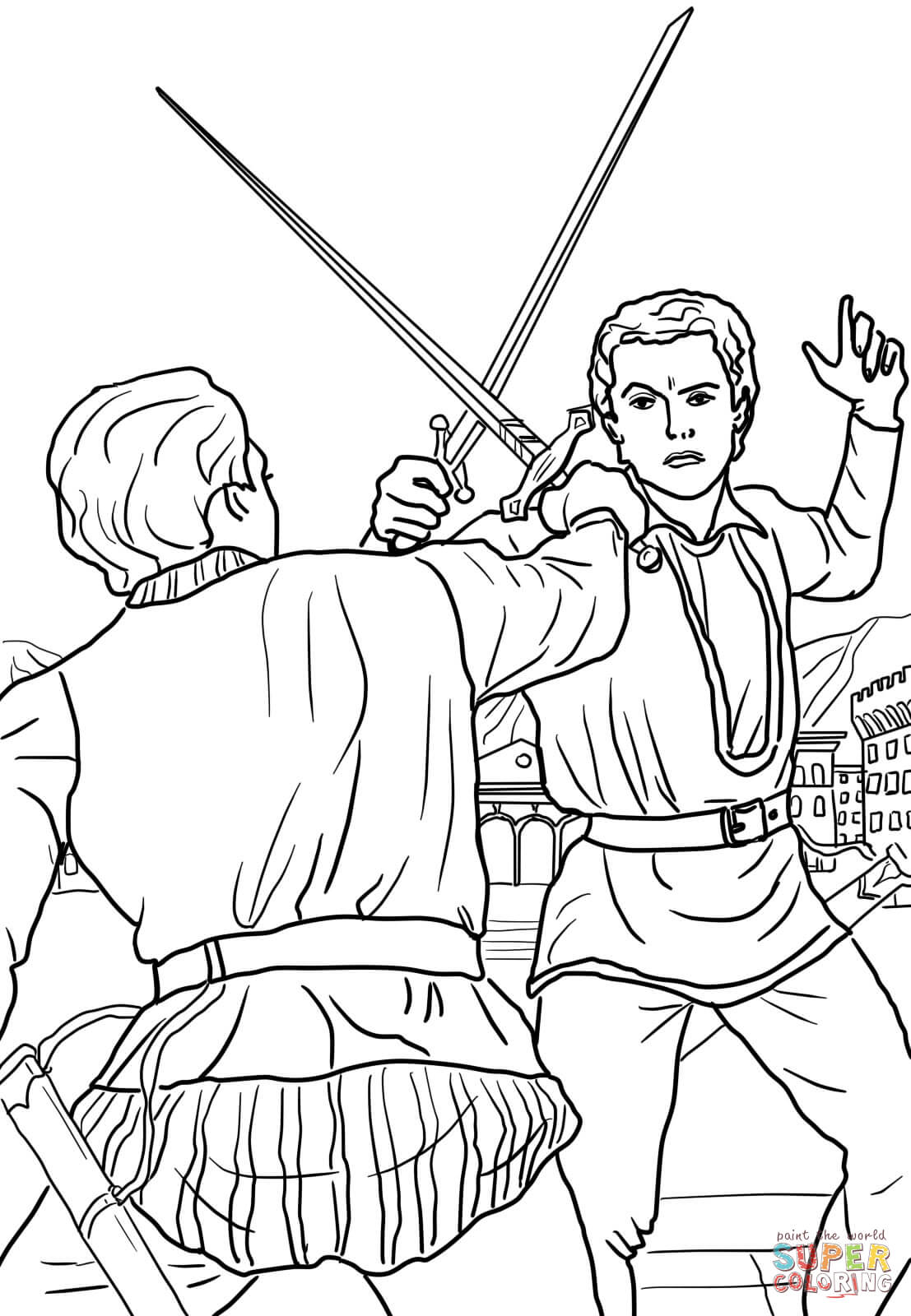 1107x1600 Romeo And Juliet Drawing Romeo And Juliet Duel Scene Coloring Page